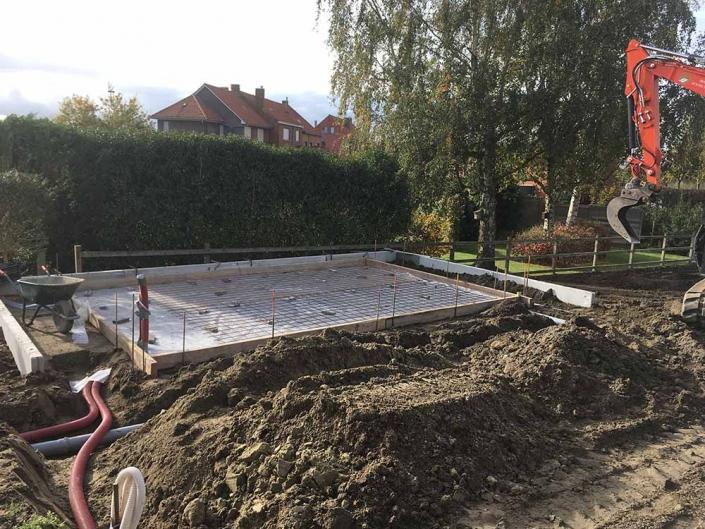 Feys-Schouppe tuinhuis plaatsen betonwerken